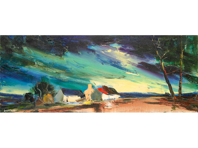 Kenneth Webb (Irish, born 1927) Evening light, County Down (51 x 127 cm.) 20 x 50 in. (unframed)