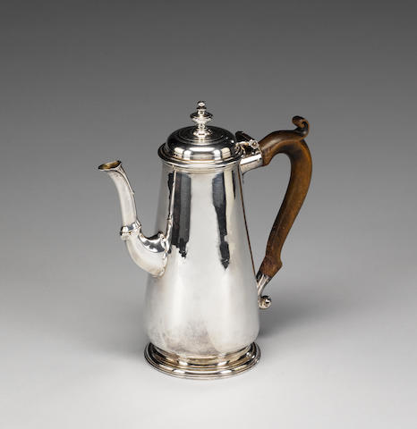 A George II silver coffeepot, by Edward Feline, London 1740,