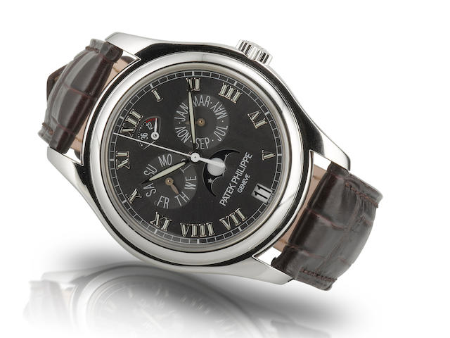Patek Philippe.  A fine and rare platinum PT950 limited production automatic annual calendar moon phase wristwatch Ref: 5056P, Movement number: 3288162, Circa 2005