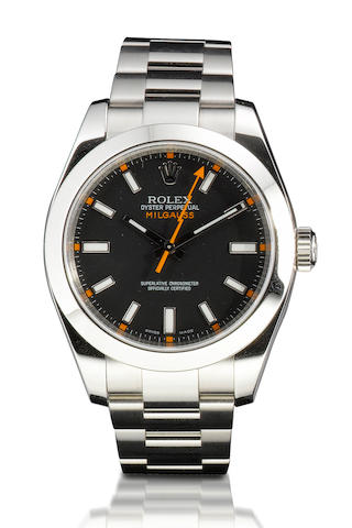 Rolex. A fine stainless steel automatic wristwatch Milgauss, Ref: 116400, Case no. M425249, Circa 2008