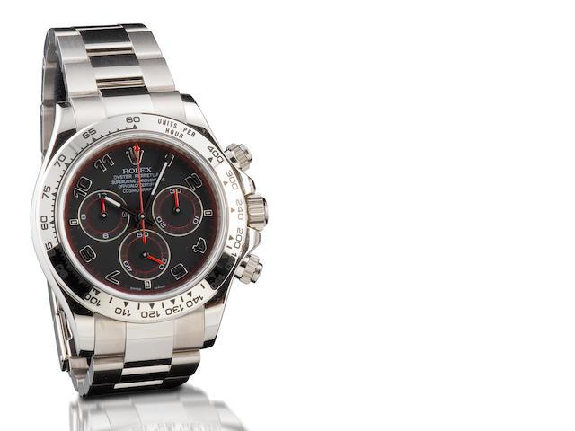 Rolex. A very fine 18ct white gold chronograph automatic wristwatch Daytona, Ref: 116509, Serial no. M177740, Circa 2007