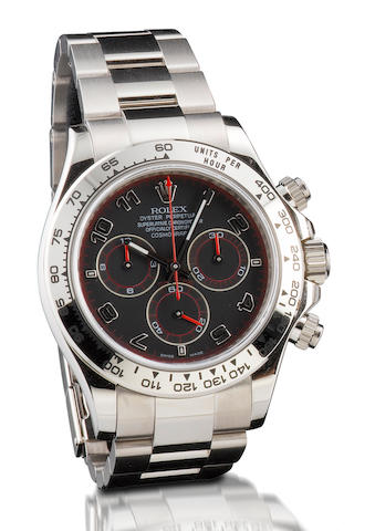Rolex. A very fine 18ct white gold chronograph automatic wristwatch Daytona, Ref: 116509, Serial no. M177740, Circa 2007