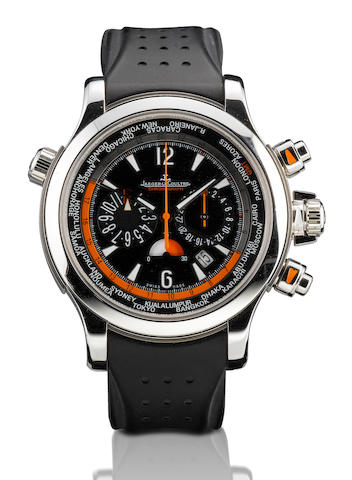 Jaeger LeCoultre. A fine stainless steel and titanium automatic limited edition chronograph world time day & night indication and calendar wristwatch Master Compressor Extreme World Chronograph Boutique Exclusive Edition, Ref:150.8.22, Case no. 01/50, Circa 2006