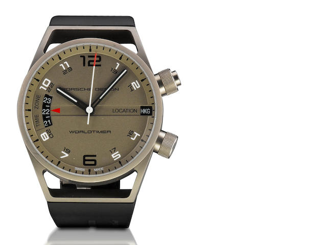 Porsche Design. A fine titanium automatic world time wristwatch Worldtimer, Ref: P6750, Case no. 209704, Circa 2006