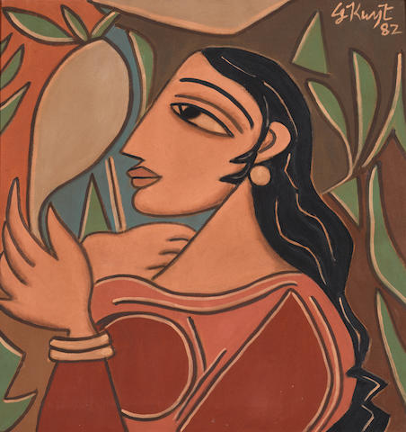 George Keyt (Sri Lanka, 1901-1993) Woman with Mirror,