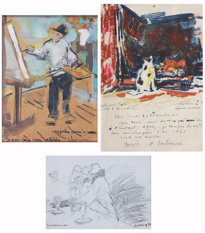 Louis Chervin (French, 1905-1969) 'Je suis dans mon atelier',  Cat in a room, 1960, & 'Montparnasse' 19.5 x 14cm, 22.5 x 15cm & 11.5 x 16cm.