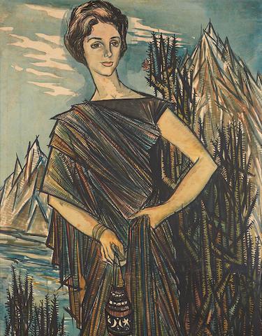 Sadequain (Pakistan, 1937-1987) Lady amidst mountain cacti,