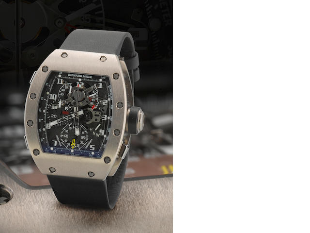 Richard Mille. A fine and very rare titanium manual wind chronograph rattrapante wristwatch with 60 hours of power reserve RM004-V2, Case no. AF Ti/103, Made in 2008