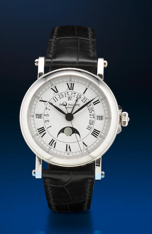 Patek Philippe. A very fine and rare platinum PT950 automatic perpetual calendar moon phase wristwatch Ref: 5059P, Case no. 4254175, Circa 2006