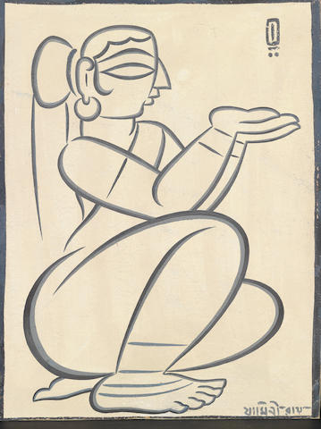 Jamini Roy (Indian, 1887-1972) Seated Woman,