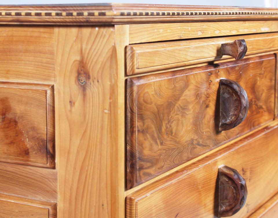 A small Hugh Birkett yew wood chest of 18th century design, circa 1988