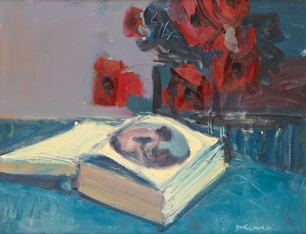 Brian Ballard (Irish, born 1943) Still life with book and poppies 35.3 x 45.8 cm. (14 x 18 in.)