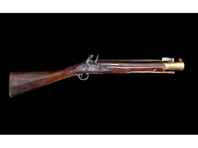 A Rare Brass Barrelled Flintlock Blunderbuss With Elliptical Muzzle