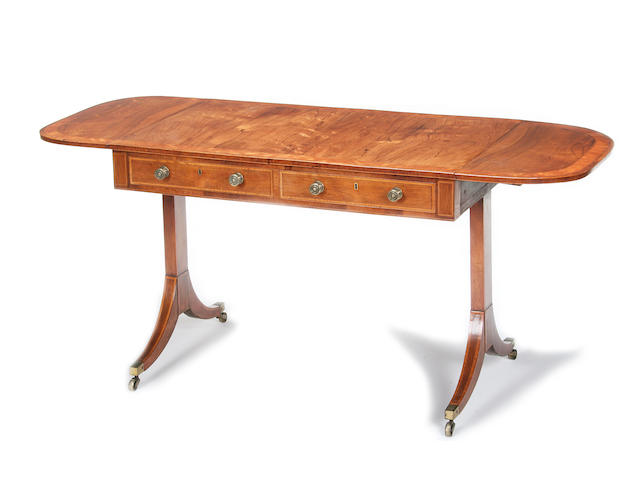 A George III rosewood and satinwood banded sofa table