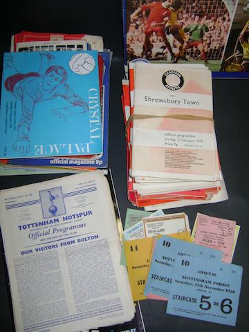 Various football programmes and tickets