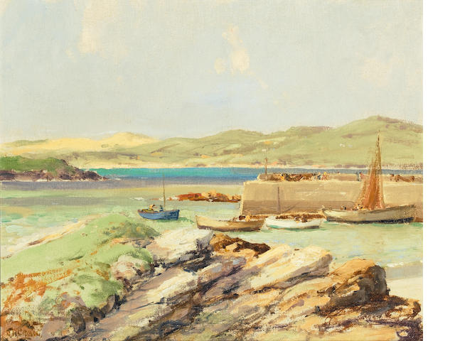 James Humbert Craig (Irish, 1878-1944) Dunfanaghy Harbour 35.3 x 43.3 cm. (14 x 17 in.)