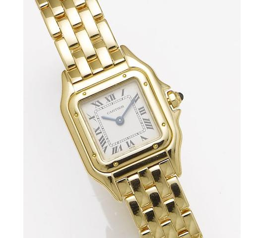 Cartier. A lady's 18ct gold bracelet watch Panther, 1990's