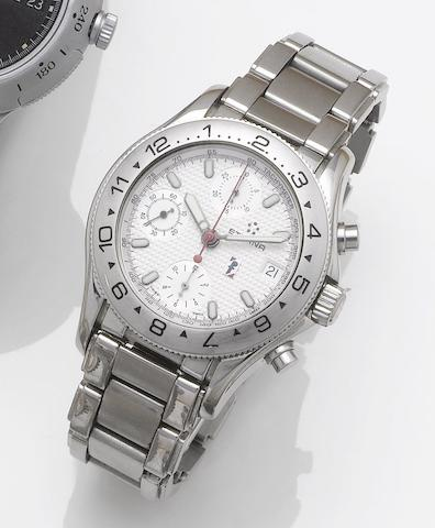 Eterna. A limited edition stainless steel automatic calendar chronograph bracelet watch together with fitted box and papers Eterna-Matic, Pininfarina, No.B327, Sold June 18th 1997