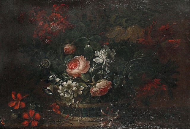 Follower of Pieter Casteels III (Antwerp 1684-1749 Richmond) A still life of roses and other flowers in a basket