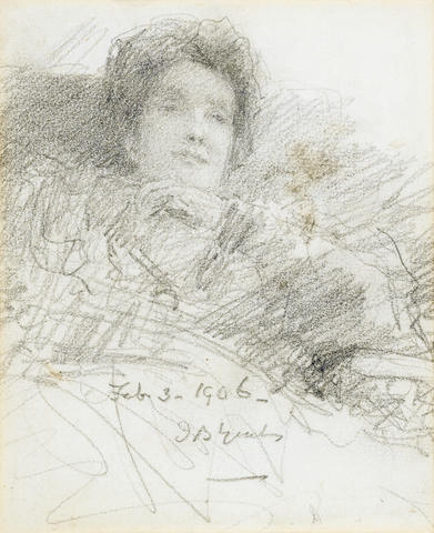 John Butler Yeats (Irish, 1839-1922) Portrait of Mary Ball 14 x 11.5 cm. (5 1/2 x 4 1/2 in.)