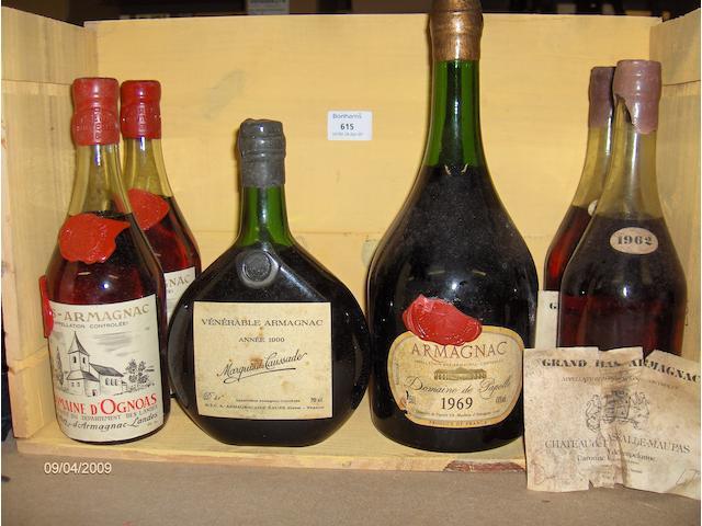 Armagnac 1900 (1)  Grand Bas Armagnac 1962 (2)  Bas Armagnac 1965 (2)  Bas Armagnac 1969 (1 magnum)