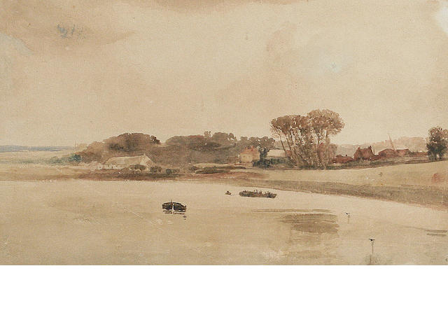 Peter De Wint, O.W.S. (British, 1784-1849) A river scene with houses beyond
