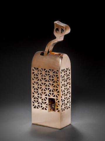 Parviz Tanavoli (Iran, born 1937) Heech in the Cage, 38 X 13 X 14 cm. (14 15/16 x 5 1/8 x 5 1/2in)