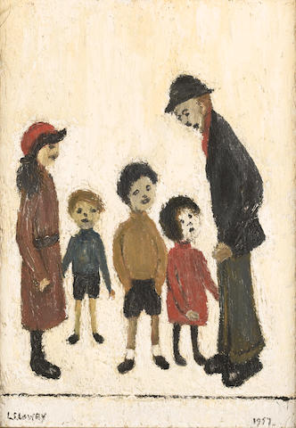 Laurence Stephen Lowry, R.A. (British, 1887-1976) Asking for Pocket Money 28 x 20 cm. (11 x 8 in.)