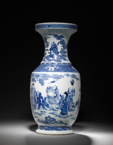 A blue and white vase Kangxi