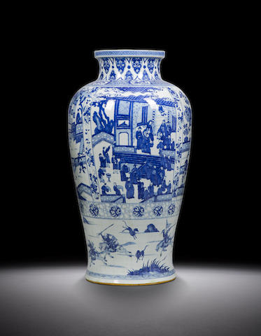 A blue and white 'soldier' vase Kangxi
