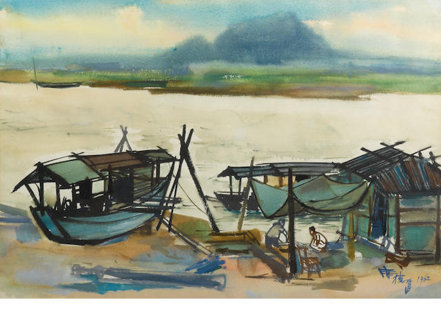 Xi Dejin (Shiy De-jinn, 1923-1981)  Two River Landscapes