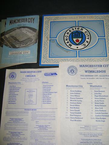 1961/62 Manchester City complete season programmes, 1985 hand signed card, 1986/87 team sheets