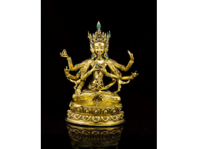 A gilt-bronze figure of Usnisavijava Tibet, 16th/17th century