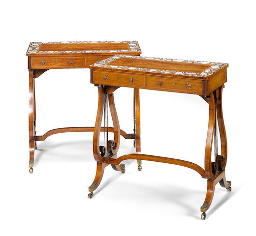 A pair of Regency rosewood Side Tables, with Vizagapatam and padouk? marquetry tops Gillow?
