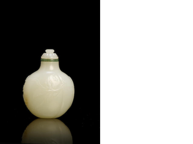 A rare white jade 'peach' snuff bottle Beijing Palace Workshops, Qianlong