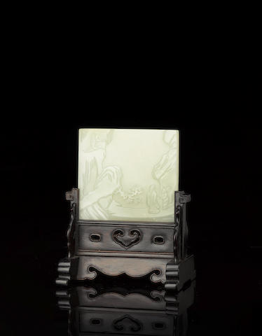A fine white jade table screen Qianlong