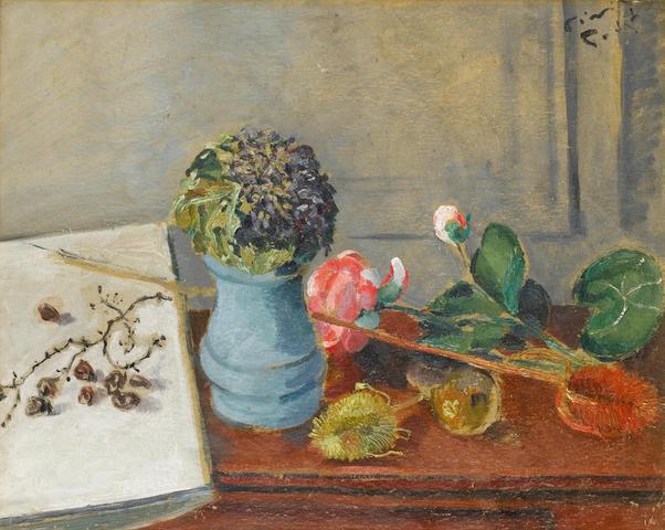 Filippo de Pisis (Italian, 1896-1956) Natura morta con violette, 1925