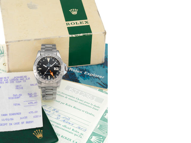 Rolex. A fine stainless steel centre seconds automatic wristwatch with 24-hour bezel and orange hand