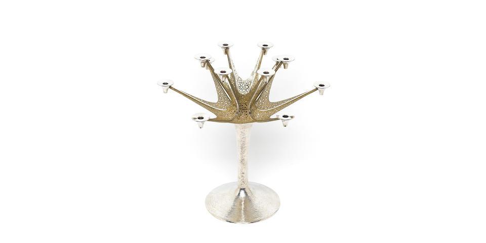 STUART DEVLIN : A silver and silver-gilt twelve-light candelabrum, London 1974,