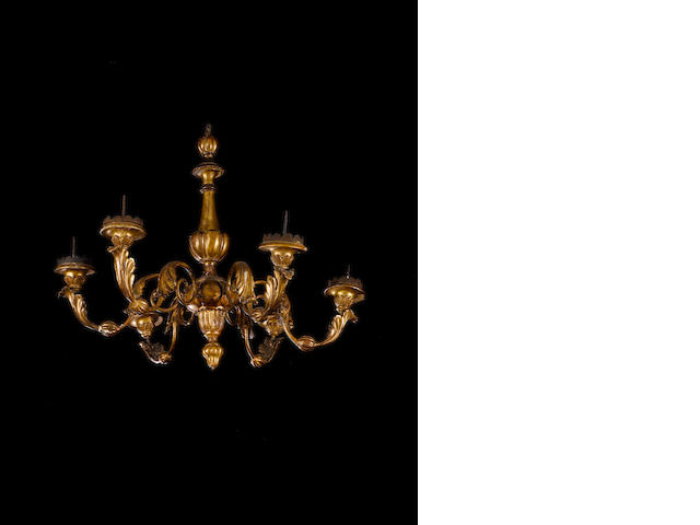 Iatlian chandelier 18th C, Napels, 6 arms gold gilding