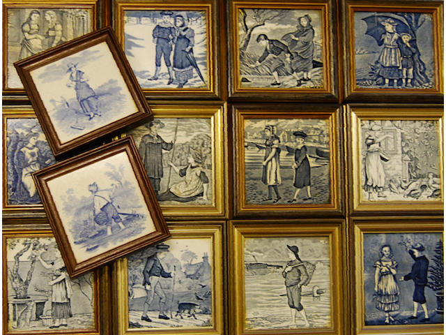 A composite set of Wedgwood Etruria blue printed months of the year tiles
