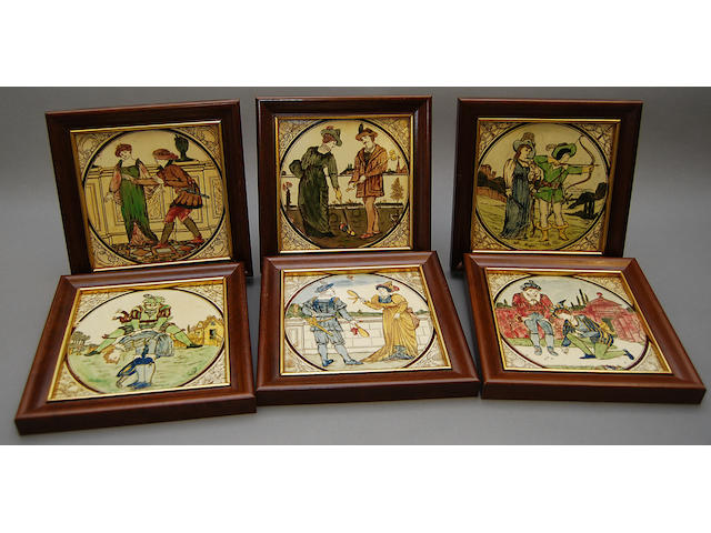 A set of six framed tiles with scenes of medieval sport