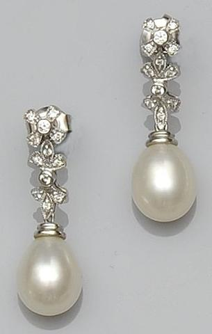 A South Sea cultured pearl and diamond pendant