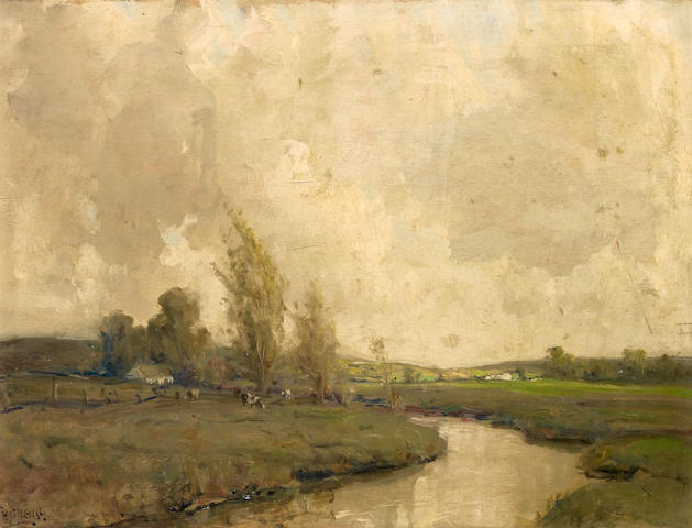 James Humbert Craig (Irish, 1878-1944) Grazing by the river 37.5 x 51 cm. (14 3/4 x 20 in.)