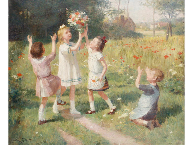 Victor-Gabriel Gilbert (French, 1847-1935) Picking wild flowers