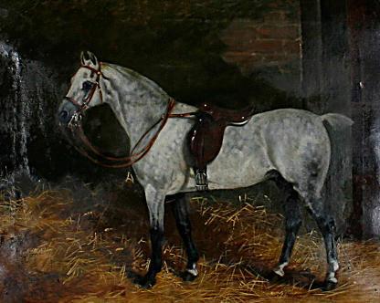 Arthur Batt (British, 1846-1911) Potrait of a grey in a stable