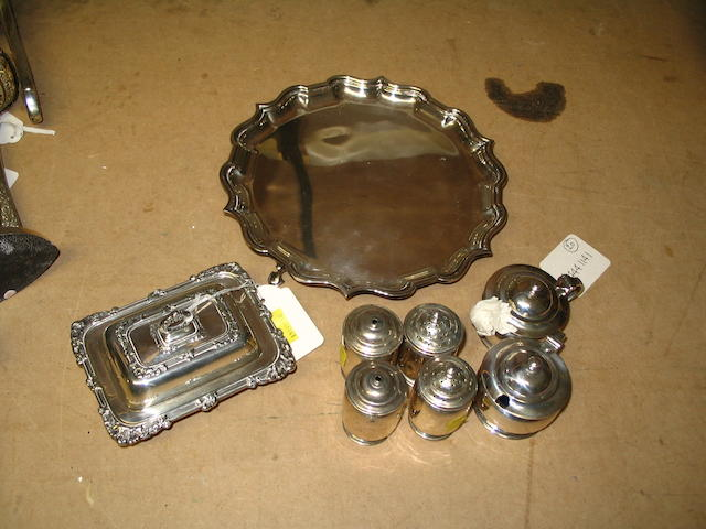 A miniature silver entree dish and cover,