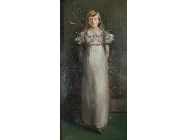 Charles Edward Ritchie, ROI (British, died 1940) Portrait of a girl, full length, wearing a white dress