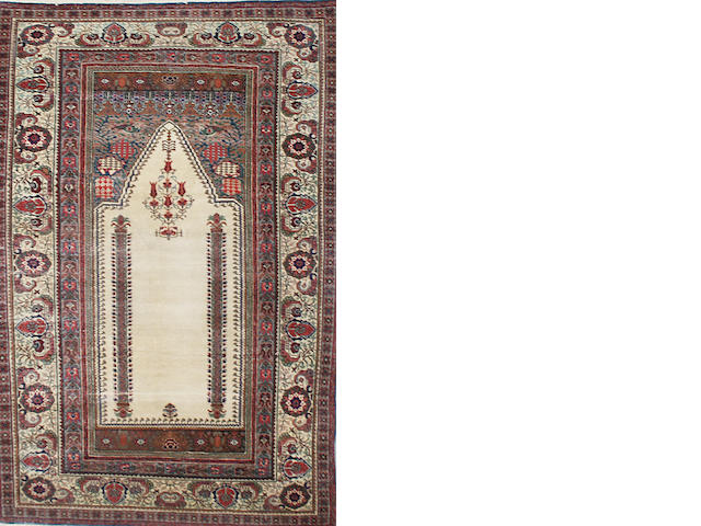 A Kashan part silk prayer rug, Central Persia 176 x 120cm