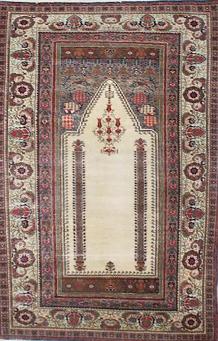 A Kashan part silk prayer rug, Central Persia 176 x 120cm